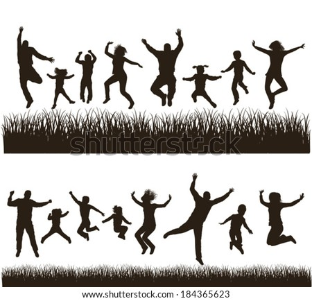 Young active family . Very detailed silhouettes. Conceptual set.  - stock vector