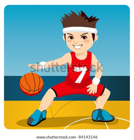 Young active male basketball player dribbling and bouncing the ball on the court - stock vector