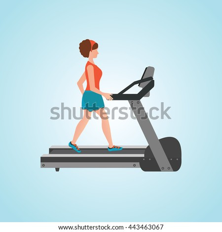 Young adult woman running on treadmill, sport fitness, athletics, healthy lifestyle. Cartoon character Vector illustration. - stock vector