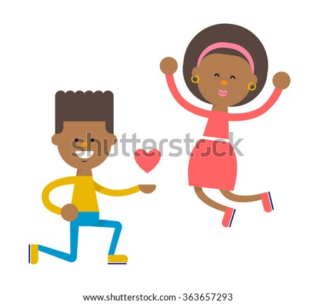 Young african american couple in love. Love relationship concept. Boy got down on one knee and girl jumping for joy. Flat illustration isolated on white background. Vector stock. - stock vector