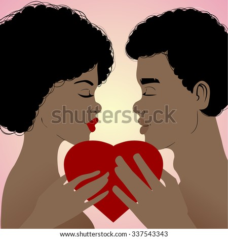 Young african american couple with heart in hands on background, vector image, eps10 - stock vector