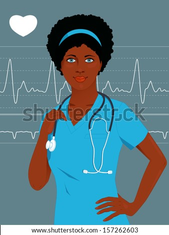 Young African-American female nurse or doctor in scrubs, heart monitor on the background - stock vector