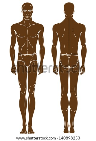 Young African American man's full length standing body template: front and back - stock vector