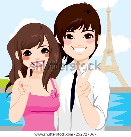 Young Asian couple enjoying honeymoon in Paris with Eiffel Tower in background - stock vector