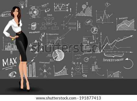 Young attractive long legged business woman against the doodle style graphs sketch design pattern - stock vector