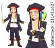 Young attractive male pirate with sword and funny parrot on shoulder - stock vector