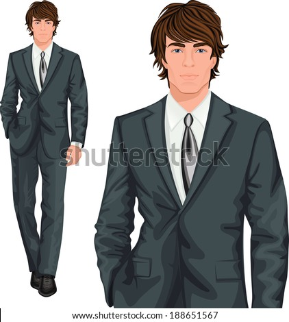 Young attractive professional businessman elegantly dressed in formal one button suit vector illustration - stock vector