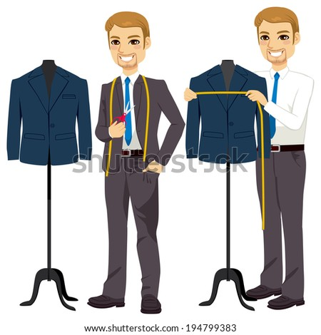 Young attractive tailor measuring bust on suit jacket - stock vector