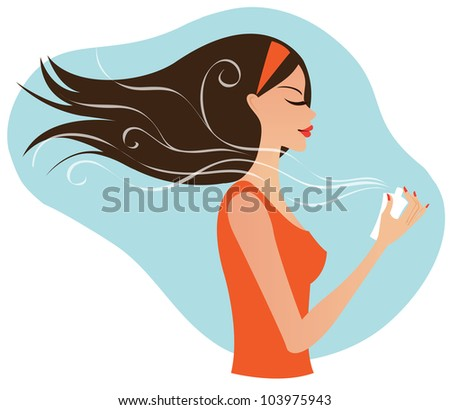 Young attractive woman using perfume - stock vector