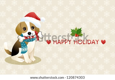 Young Beagle dog chewing ribboned bone with holiday message. Copy space. Vector EPS10. Transparency, gradation is used. - stock vector