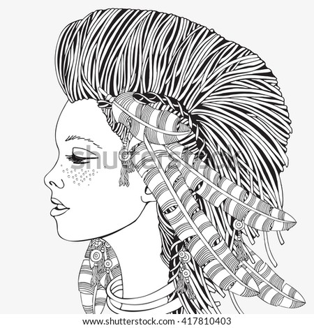 Young beautiful girl oh a white background. American Indian woman. Hand-drawn feathers. Black and white, tribal, vector, ethnic, doodle, zentangle design elements. - stock vector