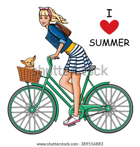 Young, beautiful girl rides a bicycle. Fashion woman and dog in white background. Summer trip - stock vector