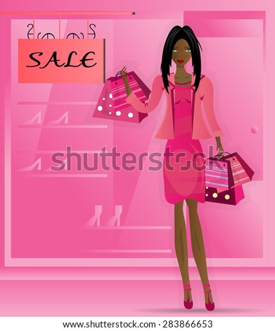 Young, beautiful, isolated, woman standing before shop, store with shop window, lady with long, black hair in summer, pink dress, jacket, many shopping bags with dots and stripes - stock vector