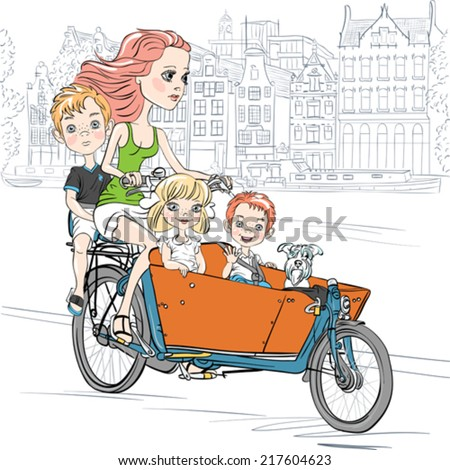 Young beautiful mother carries cute child and dog on the bike in Amsterdam - stock vector