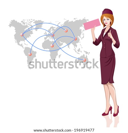 Young beautiful stewardess with ticket in hand on world map background - stock vector