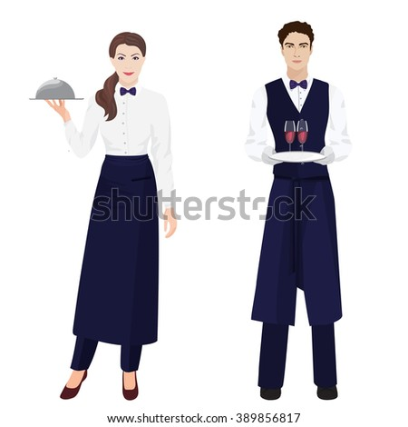 Young beautiful waitress and handsome waiter at restaurant isolated. - stock vector