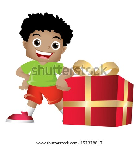 Young black boy posing with a big present - stock vector