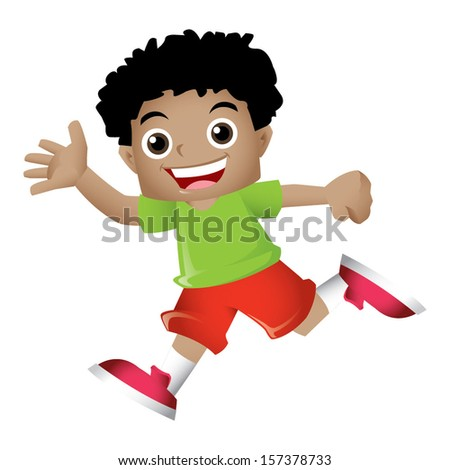 Young black boy waving happily to the audience - stock vector