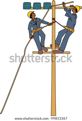 Young black electricians repairing high voltage power lines - stock vector