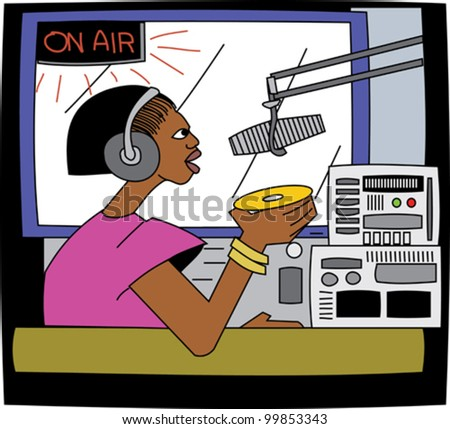 Young black female DJ on the radio with microphone and headphones - stock vector