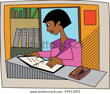 Young black professional administrator or librarian - stock vector