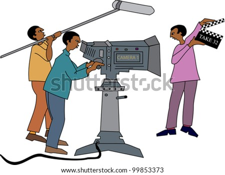 Young black professional film crew on location - stock vector