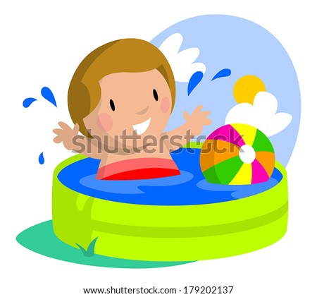 Young boy happy and splashing about in his kiddie pool. - stock vector