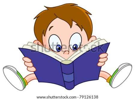 Young boy reading a book - stock vector