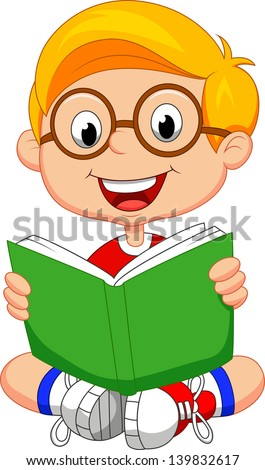 Young boy reading book - stock vector