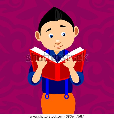 Young boy reading book vector illustration with background. - stock vector
