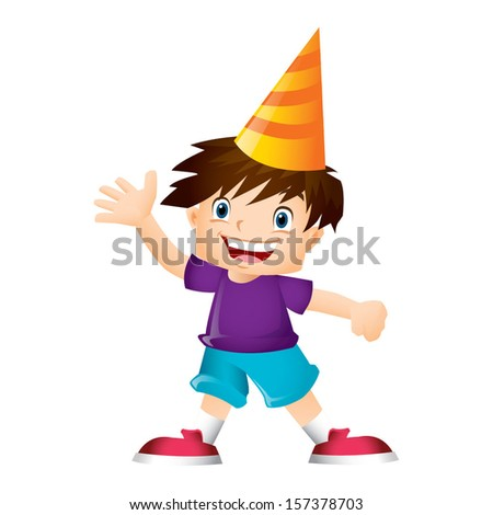 Young boy with brown hair waving happily - stock vector