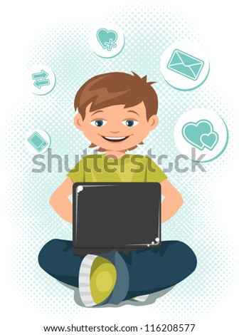 Young boy working on a laptop. - stock vector