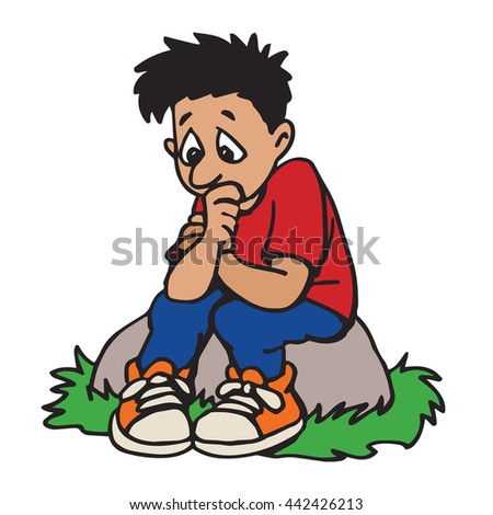 Young boy worrying - stock vector