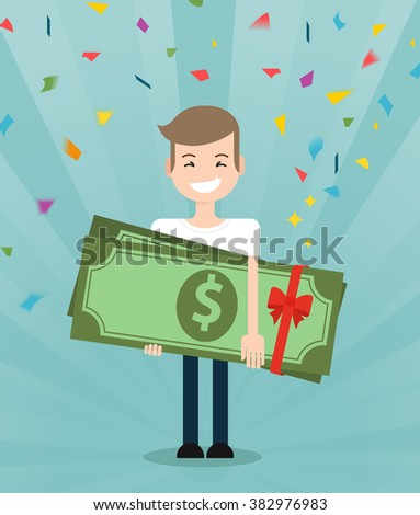 Young brunette guy really happy enjoying and holding huge gift pack of green money/dollars with both hands. Win in a lottery concept - stock vector