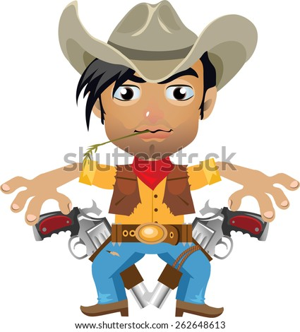 young brunette in hat with two revolvers and blue jeans - stock vector