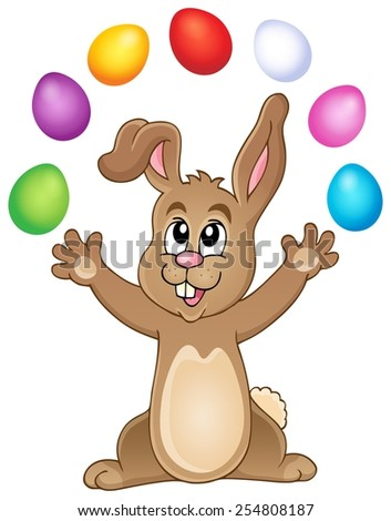 Young bunny with Easter eggs theme 3 - eps10 vector illustration. - stock vector