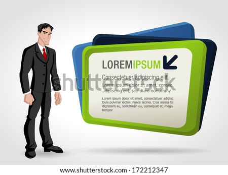 Young business man and billboard. Presentation screen. - stock vector