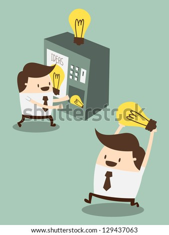 young business man buy new ideas from  vending machine - stock vector