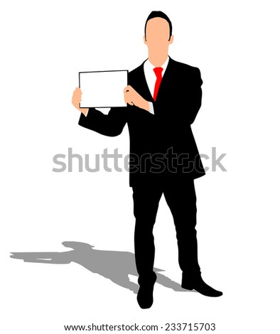 young business man showing something on a board, vector - stock vector