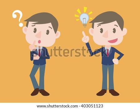 young business person character, posing question and inspiration, vector illustration - stock vector