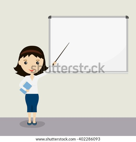 Young business woman giving a presentation, pointing at whiteboard with a pointer. Female with brown hair. Vector illustration. - stock vector