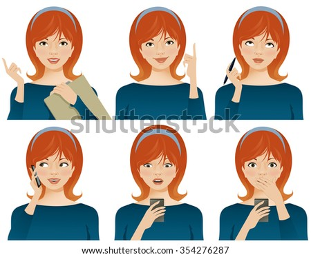 Young business woman with various facial expressions, gesturing and using smartphone. Vector illustration - stock vector