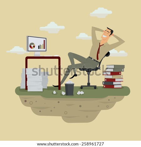 Young businessman in sunny meadow nature office relaxing behind table, vector illustration. - stock vector