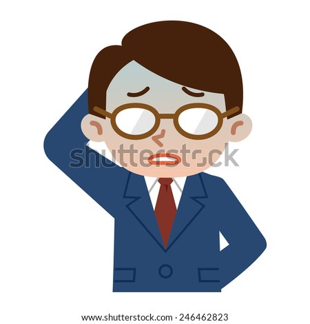 Young businessman in trouble - stock vector