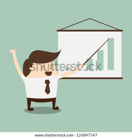 young businessman points to chart of profit - stock vector