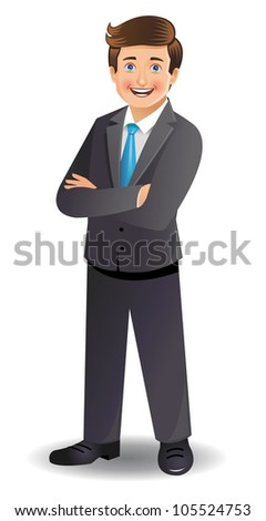 Young businessman standing with folded hands - stock vector