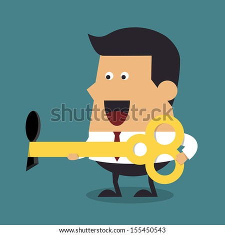 Young businessman with big key, Business concept - stock vector