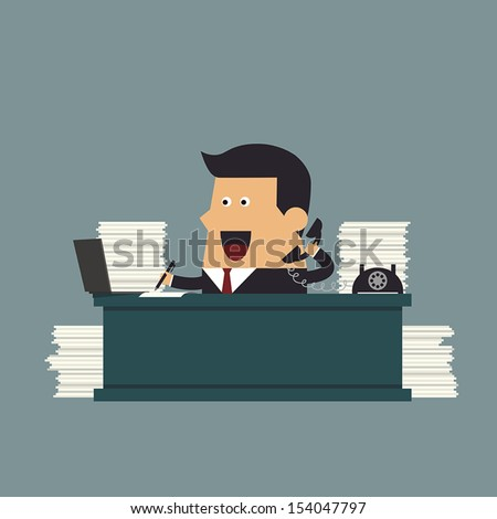 Young businessman working hard at the office, Business concept - stock vector