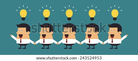 Young businessmen with light bulbs, Business idea - stock vector