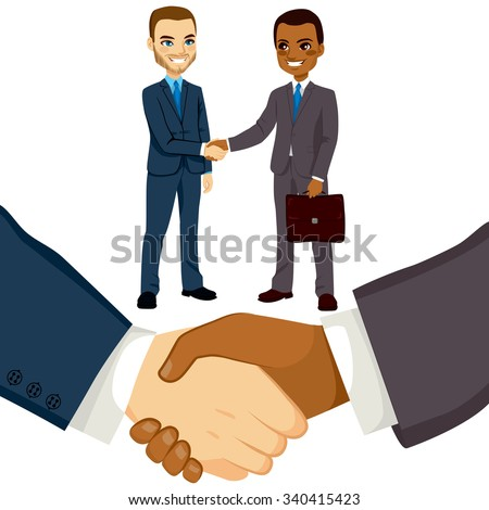 Young bussinessmen people shaking hands on a successful agreement - stock vector